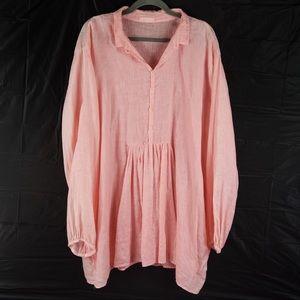 CP SHADES blush pink Lagenlook boho peasant top XL